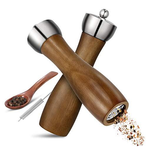 Esyhomi Salz und Pfeffermühle Holz, Pfeffer Mühle Set mit Reinigungspinsel & Löffel,Gewürzmühle mit EinstellbaremGrobheit Mechanismus