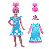 Poppy Trolls Costumes, Princess Poppy Costume for Kids, Girls Toddler Dress and Wig 4-6