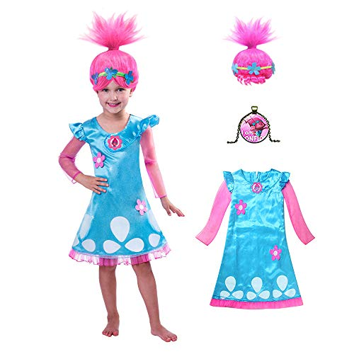Poppy Trolls Costumes, Princess Poppy Costume for Kids, Girls Toddler Dress and Wig 4-6