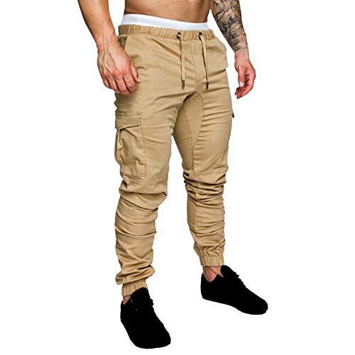 U/A Joggers Pantalones de Color Sólido Hombres Algodón Elástico Pantalones Largos