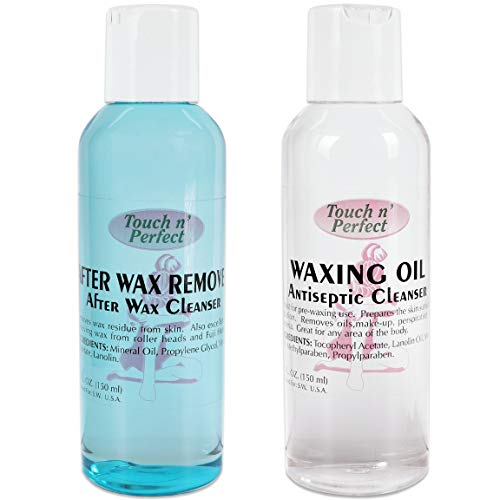 Touch n' Perfect Waxing Essential After Wax Remover Cleanser & Pre-Depilatory Oil Moisturizing Wax Antiseptic Cleanser (5 Fluid oz.) (Touch n' Perfect After Wax Remover & Waxing Oil)