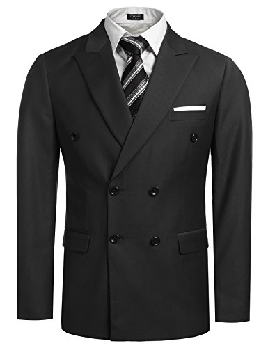 Coofandy Men's Casual Double-breasted Blazer Jacket Button Solid Sport Coat,Black,Small
