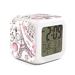 Rkouquhuaqi Romantic Travel in Paris Alarm Clock 7 LED Color Changing Wake Up Bedroom with Data and Temperature Display
