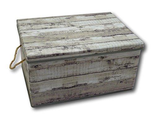 Urban Design Aufbewahrungsbox Aufbewahrung Box Kiste faltbar mit Deckel und Trageseil aus Stoff im Holz Retro-Look (Medium, grau)