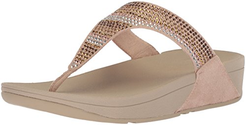FitFlop Women's Strobe Luxe Toe-Thong Sandals, Gold, 6 M US