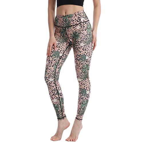 QTJY Lindo patrón de Gato Pantalones de Fitness Pantalones de Yoga Coloridos para Mujer Cintura Alta Ajustados Pantalones de Yoga de Cadera melocotón elásticos F XL