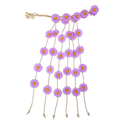 HSJWOSA Protector Daisy Flor Headband Polyester Paño Bohemio Floral Hogar de la Boda Flores para el Cabello Mujeres Accesorios para el Cabello Colorido Estirable (Color : Lavender)