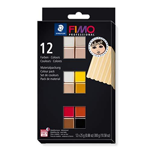 STAEDTLER FIMO Professional Doll Art, ofenhärtende Modelliermasse, speziall zum Modellieren von Puppen, Set mit 12 Farben, 8073 C12-1
