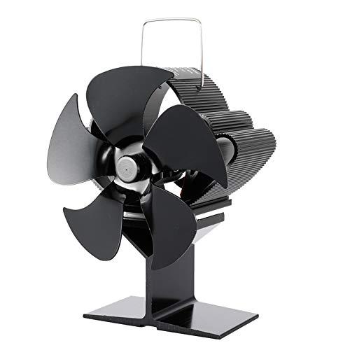 Teeyyui Ventilador de estufa, ventilador de 5 asas, ventilador de estufa de distribución de calor silencioso y eficiente, para quemadores de leña, quemadores de leña y calentadores de estufa