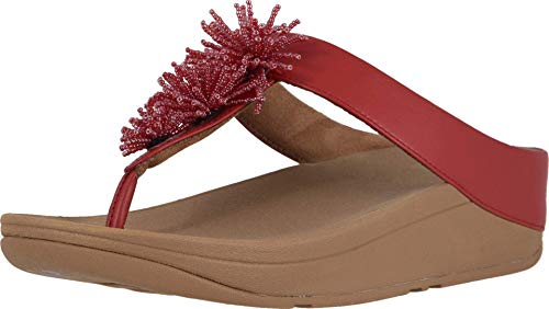 FitFlop womens Fino Bead Pompom,Adrenaline Red,7