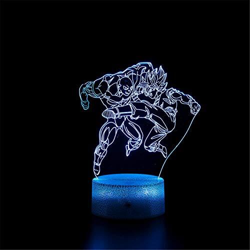 Lámpara 3D Visual 3D Luz Nocturna Dragon Ball Z E Touch Lámpara de escritorio para dormitorio de niños, cargador USB, regalos bonitos para cumpleaños, día de San Valentín