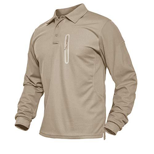 TACVASEN Poloshirts Herren Langarm Funktionsshirts Knopfleiste Polosweatshirt Golf Sportshirt mit Zip Taschen, Khaki