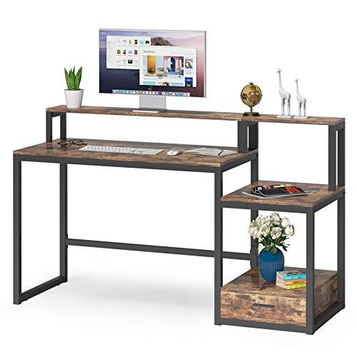 Tribesigns Escritorio de Computadora, Mesa de Ordenador con cajón, estantes, Soporte para Monitor, Industrial Mesa de Estudio para Oficina en Casa