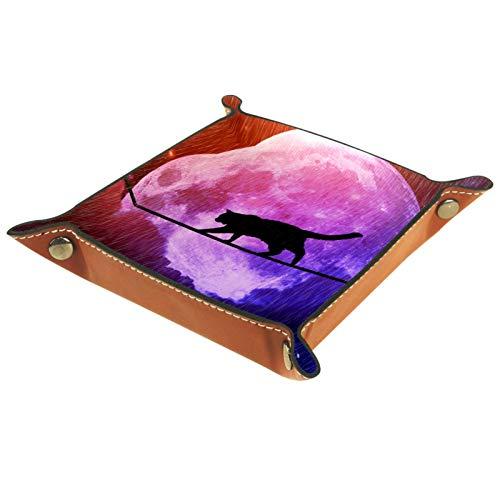 YATELI Caja de Almacenamiento pequeña, Bandeja de Valet para Hombre,Gato lloviendo Noche de Luna Llena,Organizador de Cuero para Llaves de Caja de Monedas