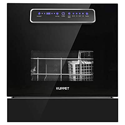KUPPET Built-in Dishwasher, Countertop Dishwasher with 8 Place Setting, 4 One-Botton Control Washing Programme and LED Display, Dishwasher with Quick Wash&Heavy Wash, Glass Door and Pullable Basket