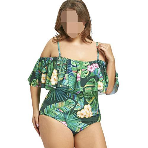 Swimsuit Women Leaf Print Flounce One Piece Swimwear Ruffle Bathing Suit Monokinis Off Shoulder Beachwear Green