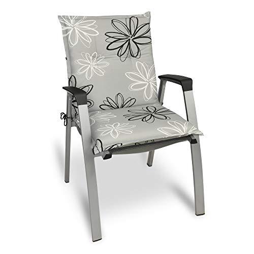 Beautissu Cojín para sillas de Exterior y jardín con Respaldo bajo Floral 100x50x6 cm tumbonas, mecedoras, Asientos cómodo Acolchado gomaespuma Resistente a Rayos UV Diferentes diseños