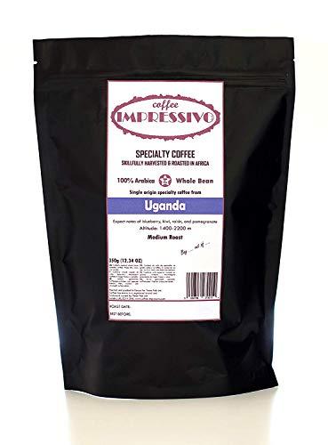 Uganda:: Impressivos Kaffeespezialität aus Uganda, 100% Arabica, Single Origin Ganze Bohnen, fachkundig in Afrika geröstet (nordischen Röstung), Top 5% Kaffee der Welt, 350g