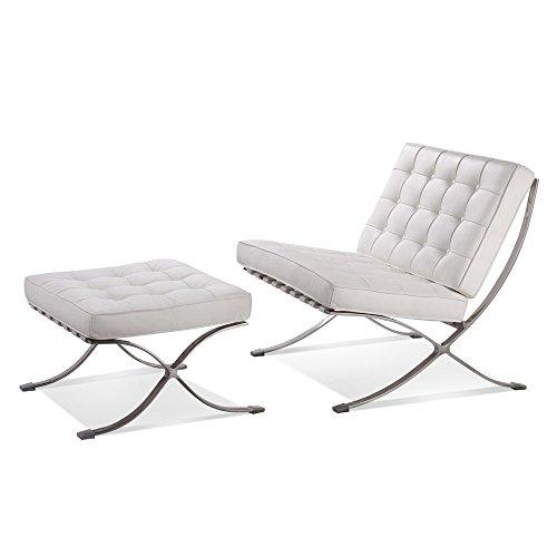 Ludwig Mies ven der Rohe Barcelona Pavilion silla y otomana piel italiana auténtica de color blanco