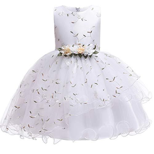Mbby Costumi Carnevale Bambine,2-9 Anni Bowknot Vestiti da Cerimonia per Bambina Cerimonia Abiti Principessa Fiori Senza Manica Tulle Abito Tutu per Ragazza (7 Anni, Rosa)