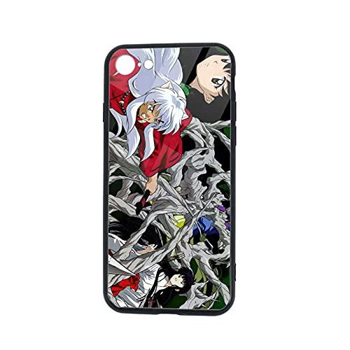 Inuyasha - Carcasa para iPhone 7/8, diseño de carcasa de cristal templado para iPhone 7/iPhone 8, carcasa protectora resistente