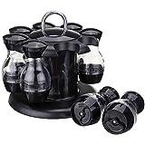 Naliovker Salt E Pepper Shakers Set di 8 Bottiglie con Supporto Girevole a 360 Grado - Set E Pepe Shaker | Set di Erogatori di Olio E Aceto | Servire Olio D'oliva,Spezie | Stoviglie