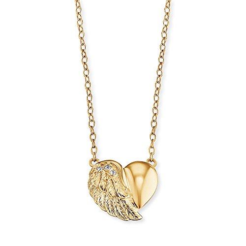 Engelsrufer Herzflügel Kette mit Anhänger für Damen Vergoldet 925er-Sterlingsilber Weiße Zirkonia Länge 40 cm + 4 cm