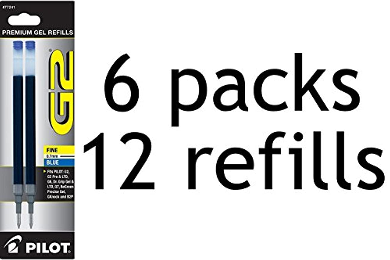 Value Pack of 6 - Pilot G2 Gel Ink Refill, 2-Pack for Rolling Ball Pens, Fine Point, Blue Ink (77241)