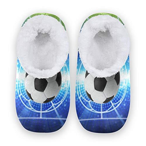 TropicalLife JNlover Sport Ball Soccer Damen Herren Geschlossene Rückseite Haus Hausschuhe Komfort Coral Fleece Fuzzy Feet Hausschuhe Hausschuhe für Indoor Outdoor, - mehrfarbig - Größe: Large