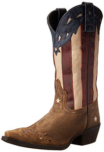 "Laredo Womens Keyes Patriotic Western Cowboy Boots Mid Calf Low Heel 1-1 3/4"" - Beige - Size 9 B"