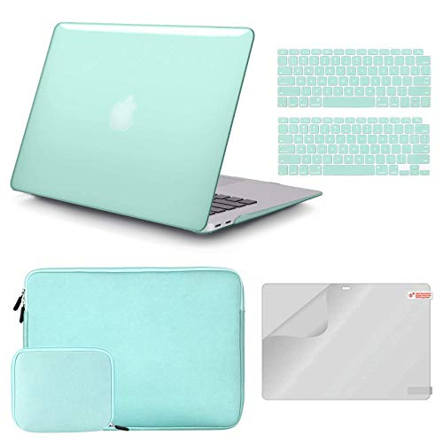 iCasso MacBook Air 13 Inch Case A1932/2179 Bundle 4 in 1, Plastic Hard Shell Case, Sleeve, Screen Protector, Keyboard Cover and Small Pouch Compatible 2020 2019 2018 Macbook Air 13 Touch ID-Mint Green