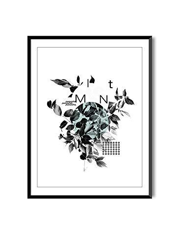 Poster da Incorniciare per Decorazione de Parete per Quadro Stile Nordico | Minimal Plants | Poster di Piante Bianco e Nero| Mint | Varie Dimensioni (30 x 40 cm)