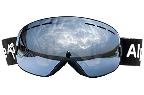 Alpzone Skibrille Snowboardbrille Goggle voll verspiegelt Antifog mit Wechselglas Etui (Silber)