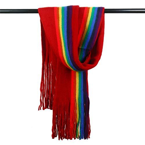 ODMKGE Schal Warme Lange Troddelschalweibchen des Wilden Vertikalen Regenbogens des Winterherbstes