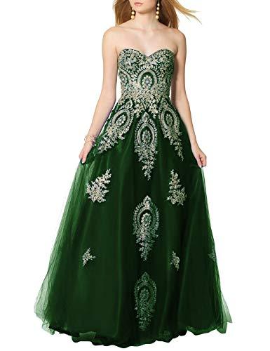 SongSurpriseMall Ballkleider Brautkleider Damen Lang Hochzeitskleider Abendkleid Quinceanera Kleider Tüll Spitze 2019 Dunkelgrün EU54