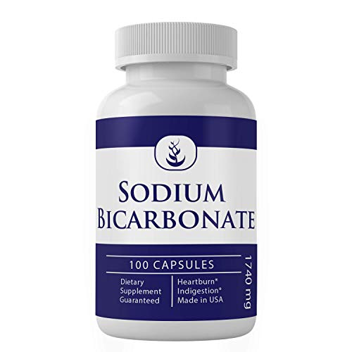 Sodium Bicarbonate Antacid (100 Capsules, 1740 mg), Natural Antacid for Acid Indigestion, Heartburn