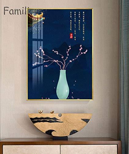 yiyiyaya Rahmenlose süße Schwein mit Brille Pop Wall Art chinesischen roten Palast malen einfach -60x80cm_No_Frame_Blue