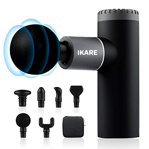 IKARE Mini Massage Gun Deep Tissue Pocket Massager Muscle Massage Gun for Athletes Rechargeable 4 Speeds Portable Handheld Percussion with 6 Massage Heads Grey