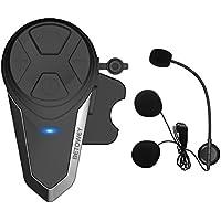 Intercomunicador Casco Moto, BETOWEY BT-S3 Bluetooth Auriculares Manos Libres para Casco Moto (1*BT-S3)