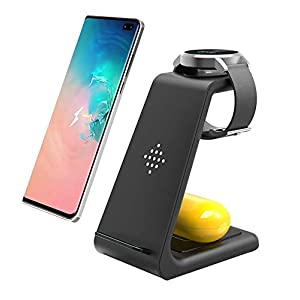 Wireless Charger3 In 1 Qi Certified Fast Wireless Charging Station Charger Stand For Galaxy Buds Galaxy Watch Active 40mm Sm R500 46mm Sm R800gear S2gear S3 Frontiersamsung S20s10s9note 109