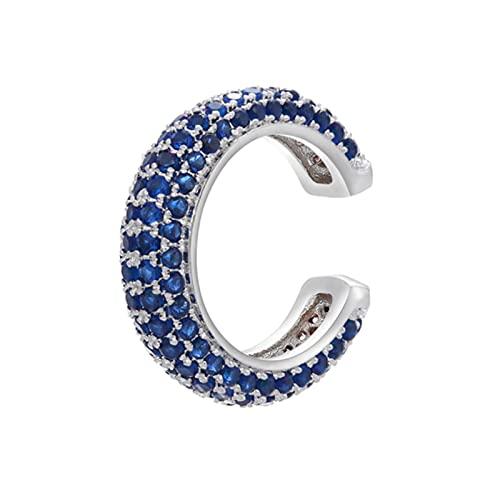 1 Uds CZ Crystal Ear Cuff en forma de C / forma de estrella Clips de oreja sin pendientes perforados para mujer Joyería-plata azul oscuro