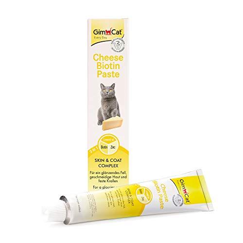 GimCat Cheese Biotin, pasta de queso con biotina - Con queso aromático, zinc y aceite de linaza para pelaje, piel y garras - 1 tubo (1 x 200 g)