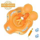 浮き輪 ベビー Delicacy 2020 赤ちゃん うきわ リング 6ヶ月~30ヶ月適用 水遊び 水泳 プール おもちゃ 専用ポーチ ハンドポンプ付き オレンジ