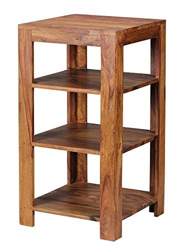 WOHNLING Standregal Massiv-Holz Sheesham 80 cm Wohnzimmer-Regal mit 3 Ablagefächer Design Landhaus-Stil Beistelltisch Natur-Produkt Wohnzimmermöbel Unikat modern Massivholzmöbel Echtholz Anstelltisch