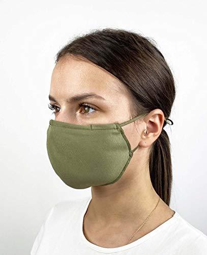 Pack de 3 Mascarillas Reutilizables y Lavables de Tela Algodon Homologadas - Comodas y Respirables - Máscaras Certificadas (Verdes)