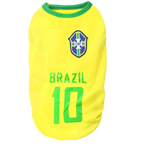 Maglietta in jersey per cani da compagnia nazionale di calcio per animali domestici, maglietta per cani e gatti (S: lunghezza: 25 cm, circonferenza torace: 30 cm, Brasile)