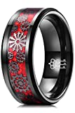 THREE KEYS JEWELRY Mens Gear Tungsten Carbide Unisex Wedding Bands Rings for Men 8mm Comfort Fit Vintage Punk Mechanical Foil Opal Meteorite Inlay Red Black Size 9.5