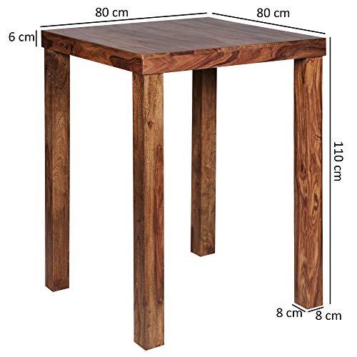 FineBuy Bartisch Massivholz Sheesham 80 x 80 x 110 cm Bistro-Tisch modern Landhaus-Stil Holz-Steh-Tisch quadratisch dunkel-braun Natur-Produkt Massiv-Holz-Möbel Hausbar Esstisch Echt-Holz unbehandelt - 4