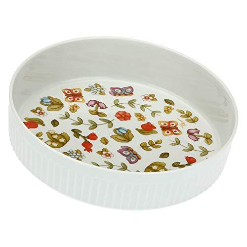 Accessori Cucina Legno -35 h cm THUN Portarotolo da Cucina con Fiori Linea Elegance Ceramica