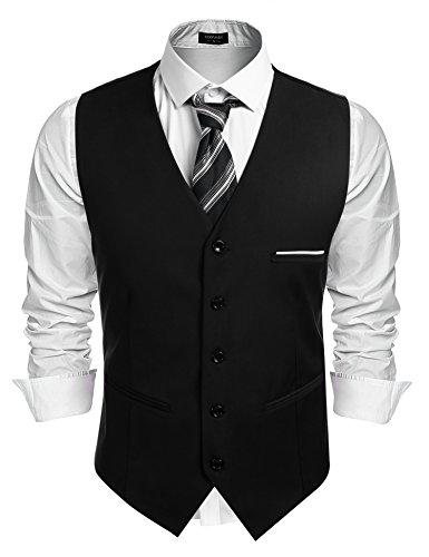 Burlady Herren Western Weste Herren Anzug Weste V-Ausschnitt Ärmellose Westen Slim Fit Anzug Business Hochzeit, Schwarz, XL